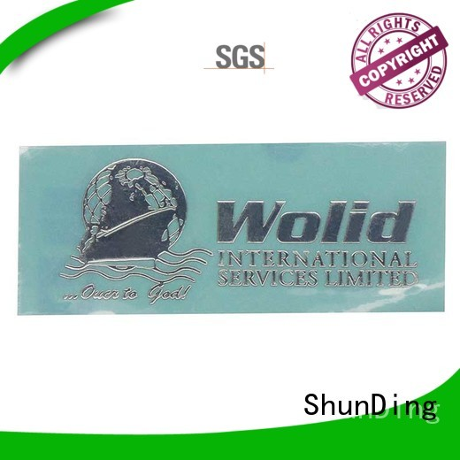 stainless metal sticker by Chinese manufaturer for commendation ShunDing