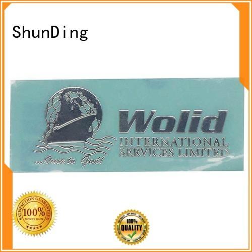 metal logo stickers matte etching injected ShunDing Brand