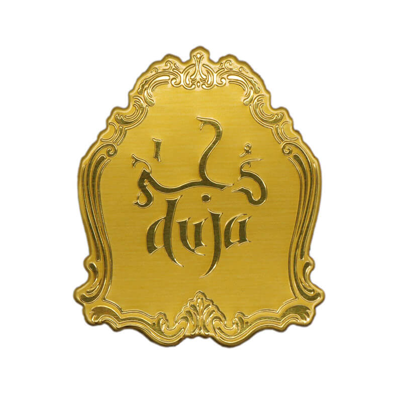 Metal Gold Anodized Customized Aluminum Perfume Sticker  SD-S00004