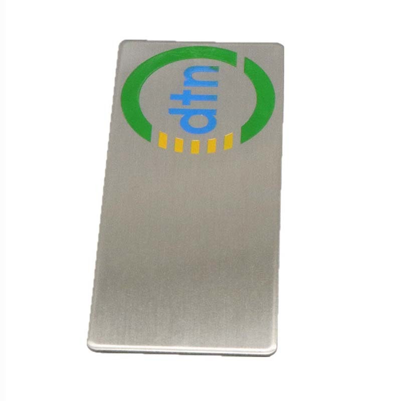 Round Corner Adhesive Stainless Steel Etched Logo Color Filled Label SD-L00005
