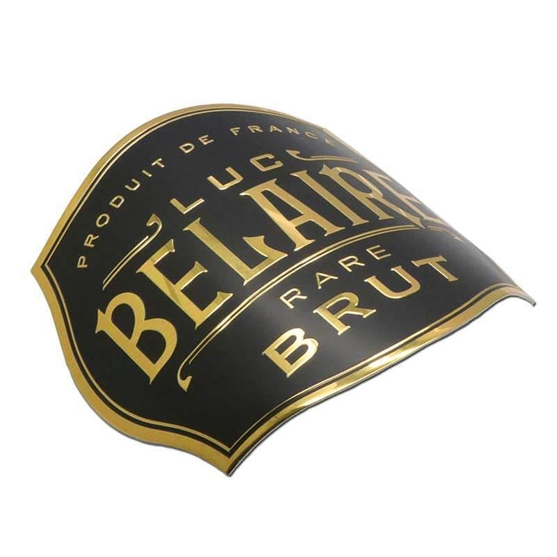 Golden Aluminum Adhesive Embossed Logo Wine Bottle Label SD-L00006