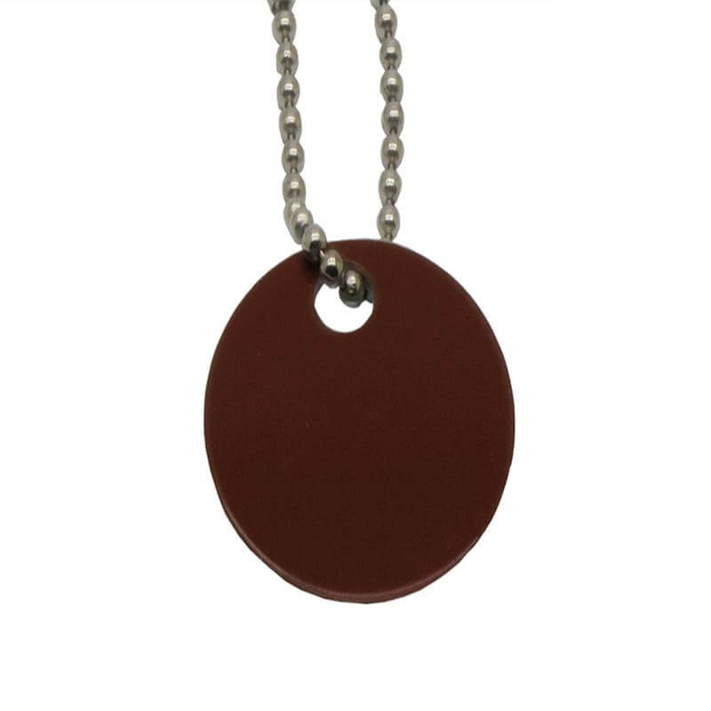 Custom Brown Aluminum Metal Hang Tag Printed Brushed Beaded Chain SD-T00003