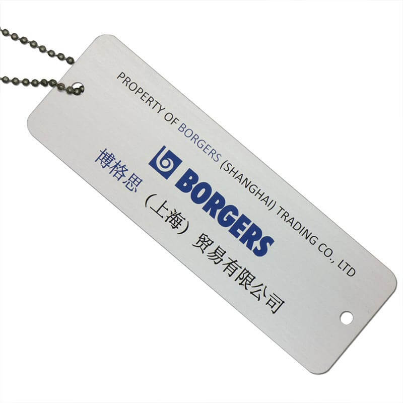Custom Garment Aluminum Metal Hang Tag Color Printed Brushed Beaded Chain SD-T00004