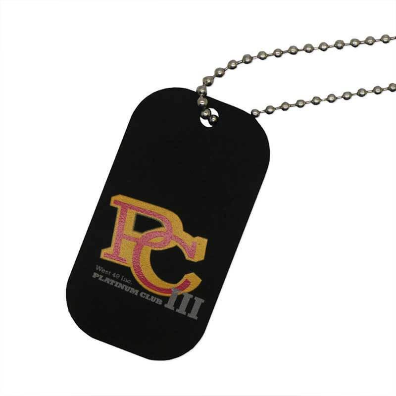 Custom Black Aluminum Metal Hang Tag Printed Sandblasted Anodized Beaded Chain SD-T00006