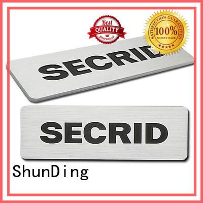 Custom diamond cutting car door name plates ShunDing silver