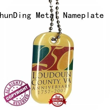 Custom Aluminum Metal Hang Domed Tag Color Printed Beaded Chain SD-T00005