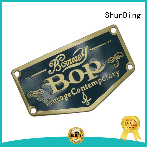 ShunDing Brand sticker thin etched metal logo stickers