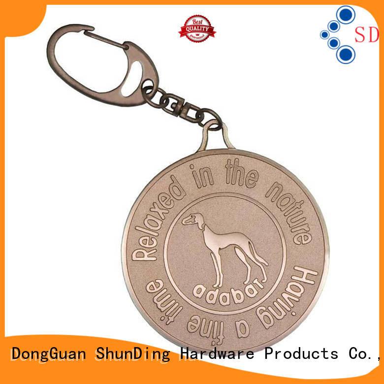 Hot printed key tag brown aluminum ShunDing Brand