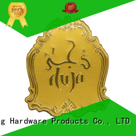 etched gold metal logo stickers customized epoxy ShunDing Brand