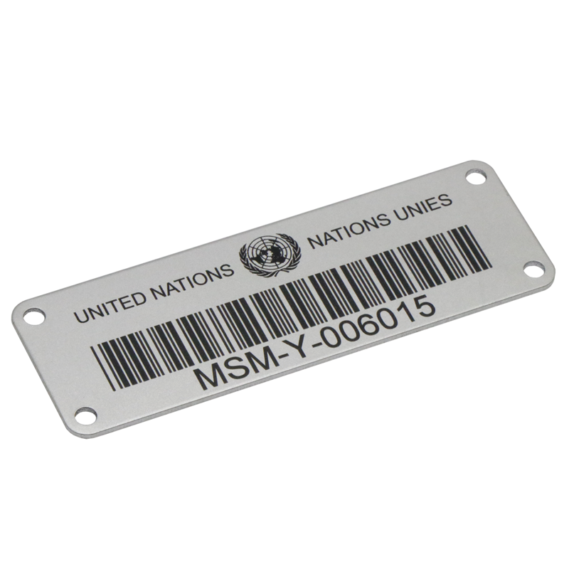 Laser engraved aluminum metal QR bar code  sticker label with serial number