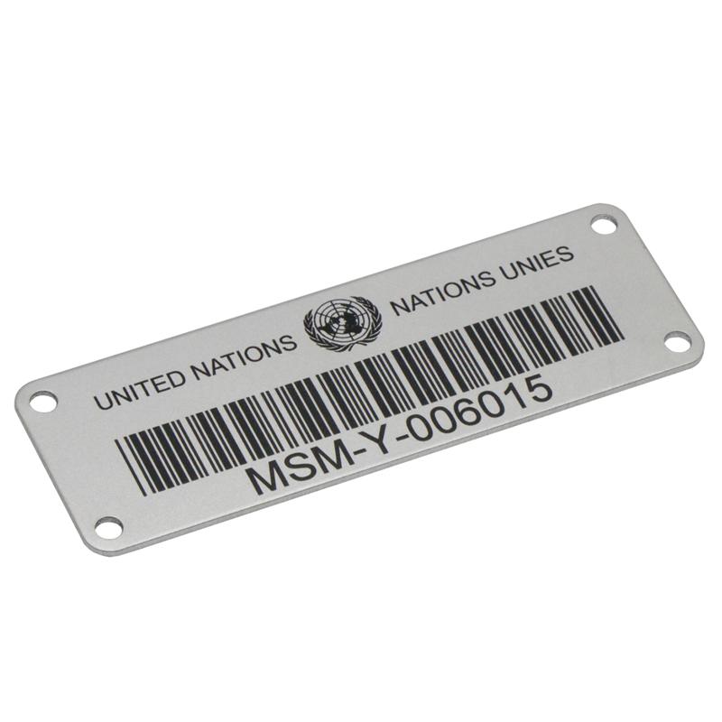 Laser engraved aluminum metal QR bar code  sticker label with serial number