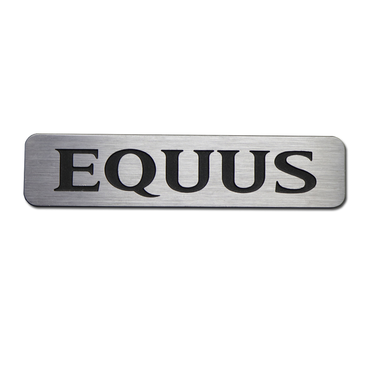 Embossed brushed silver aluminum nameplates