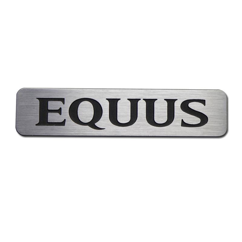 Embossed brushed silver aluminum nameplates