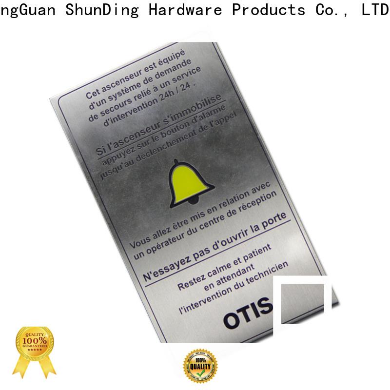 ShunDing custom metal plates factory price for identification